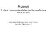 Herbstmeisterschaften am 26.11.2016 (Protokoll)